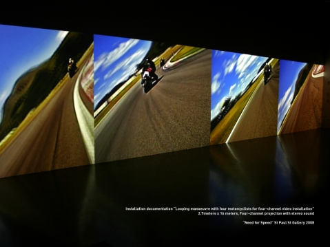 Looping manoeuvre with four motorcyclists for four-channel video installation